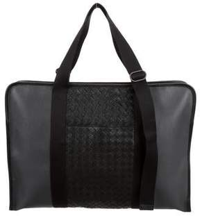 Bottega Veneta Leather Intrecciato-Trimmed Briefcase
