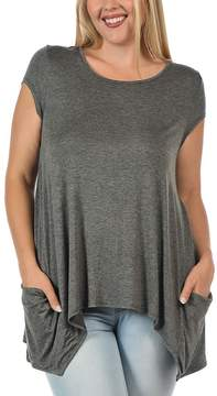 Bellino Heather Charcoal Side-Pocket Sidetail Tee - Plus