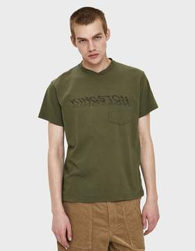 Engineered Garments Printed Cross Crew Neck T-Shirt in Olive
