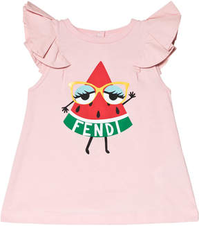 Fendi Pink Watermelon Monster Print Frill Dress