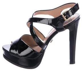 Pour La Victoire Patent Leather Platform Sandals