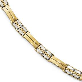 Ice 14k Two-tone Polished and Brushed Men's Link Bracelet