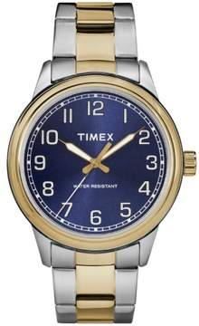 Timex Men's New England Two-Tone/Blue Watch, Stainless Steel Bracelet