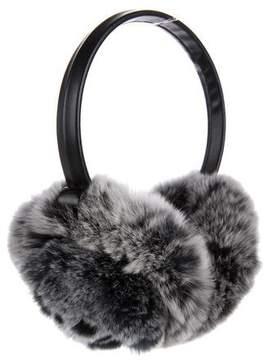 Adrienne Landau Leather-Trimmed Fur Earmuffs w/ Tags