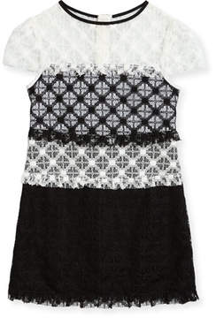 Milly Minis Gabrielle Short-Sleeve Colorblock Lace Dress, Size 8-16
