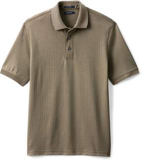 Lands' End Lands'end Men's Short Sleeve Herringbone Jacquard Polo Shirt