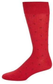 Bruno Magli Pinstripe Polka-Dot Socks