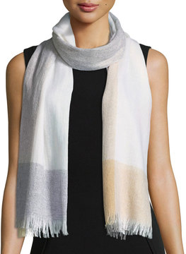 Neiman Marcus Striped Fringe Lightweight Scarf