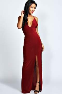 boohoo Sophie Plunge Neck Front Split Maxi Dress