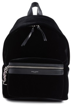 Saint Laurent Mini City Velour Backpack - Black - BLACK - STYLE