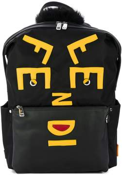 Fendi Face leather applique backpack