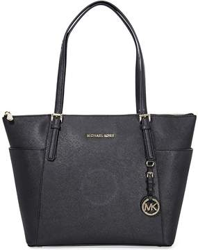 Michael Kors Jet Set Top-Zip Saffiano Leather Tote in Black - Large - ONE COLOR - STYLE