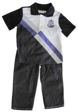Carter's Little Boys Black White Stripe Polo Shirt Denim Pants 2 Pc Set 2T