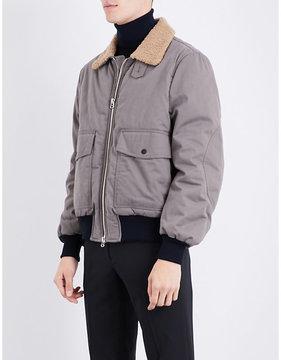 Joseph Faux-shearling collar brushed-cotton bomber jacket