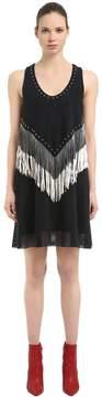 Drome Fringed & Studded Nappa Suede Dress