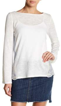 Caslon Mixed Media Embroidered Back Blouse (Petite)