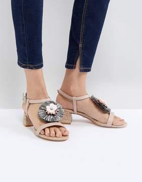 Dune Low Heel Leather Sandal with Raffia Embellished Flower