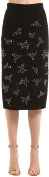 N°21 Floral Embellished Cady Pencil Skirt