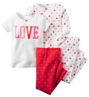 Carter's Baby Clothing Outfit Girls 4-Piece Snug Fit Cotton PJs Love Hearts