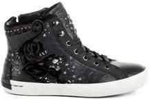 Crime London Women's Black Leather Hi Top Sneakers.