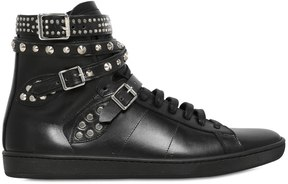 Saint Laurent Studded Belted Leather High Top Sneakers