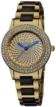 August Steiner Crystal Glitz Gold-tone and Black Ceramic Ladies Watch
