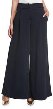 Emporio Armani Mid-Rise Wide-Leg Chevron Knit Jacquard Pants