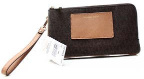 MICHAEL Michael Kors Signature Large Double Zip Wristlet with Pocket - BROWN - STYLE