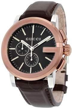 Gucci G Chrono XL Black Dial Brown Leather Men's Watch
