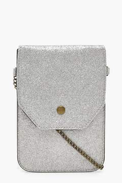 boohoo Glitter Messenger Bag With Chain