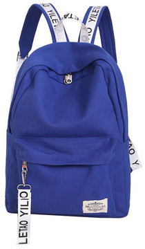 Shein Patch Detail Letter Print Canvas Backpack