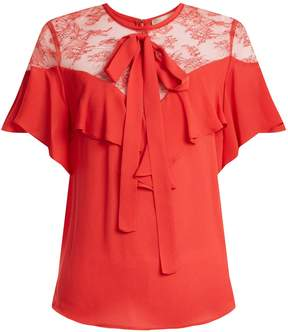 Elie Saab Round-neck ruffle silk-blend top