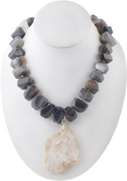 Barse Adjustable Agate & Druzy Pendant Necklace
