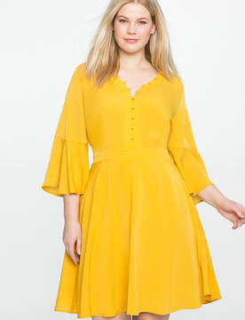 ELOQUII Soft Button Front Shirt Dress