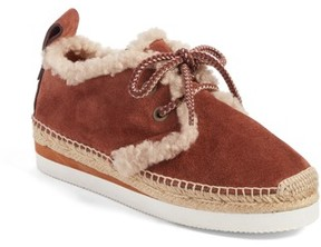 See by Chloe Women's Glyn Genuine Shearling Lace-Up Espadrille