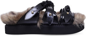 Simone Rocha Bead-embellished faux-fur and leather sandals