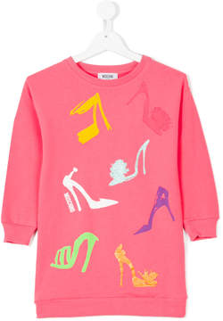Moschino Kids shoe printed sweatshirt dress