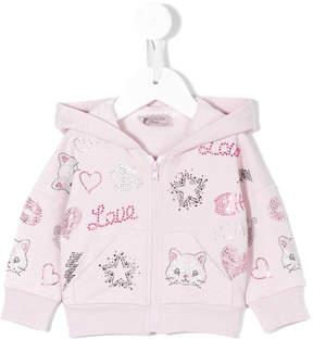 MonnaLisa sequinned print hoodie