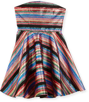 Milly Minis Ellie Multi-Stripe Illusion Lurex® Strapless Dress, Size 8-16