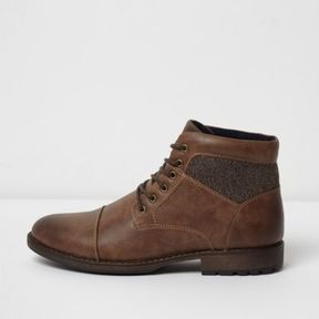 River Island Mens Brown lace-up work boots