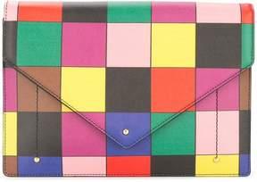 Sara Battaglia patchwork print flap clutch