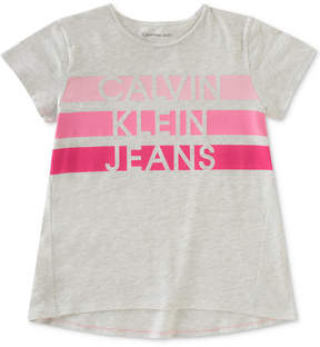 Calvin Klein Jeans Striped Logo Cotton T-Shirt, Big Girls (7-16)