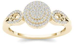 Imperial Star 1/5ct TDW Diamond 10K Yellow Gold Halo Engagemet Ring
