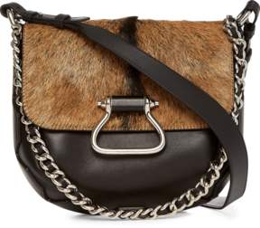 Roberto Cavalli Goat Hair Leather Shoulder Bag