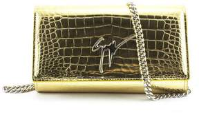 Giuseppe Zanotti Mirrored Gold Crocodile-embossed Calfskin Leather Clutch