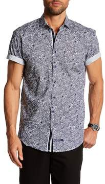English Laundry Paisley Print Classic Fit Short Sleeve Shirt