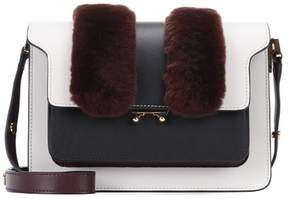 Marni Trunk fur-trimmed leather shoulder bag