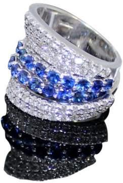 Damiani 18K White Gold Diamonds And Sapphires Ring