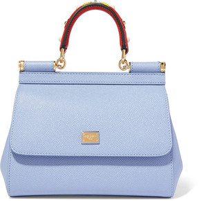 Dolce & Gabbana - Sicily Small Embellished Textured-leather Tote - Light blue