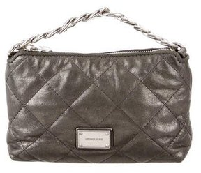 MICHAEL Michael Kors Metallic Quilted Clutch - GREY - STYLE